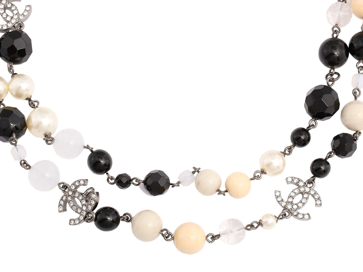 Chanel Long Black Bead and White Pearl Logo Necklace