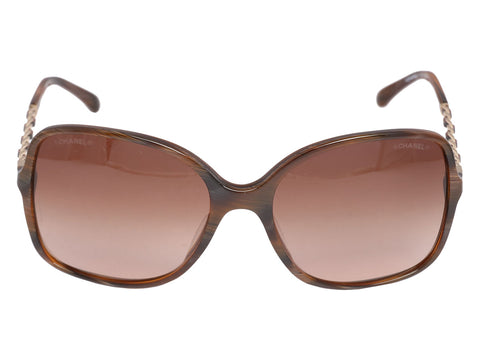 Chanel Brown Chain Arm Sunglasses