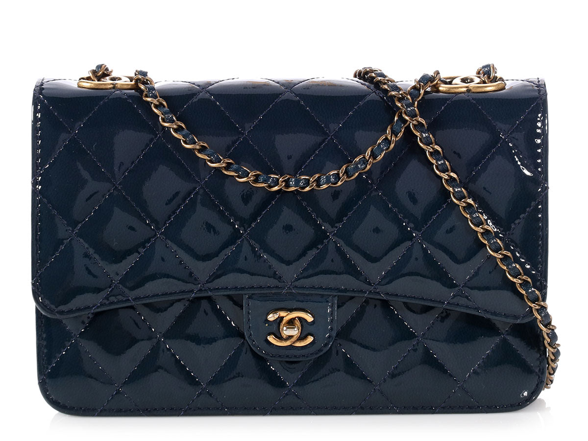 952ba8fb4939 Chanel Navy Blue Patent Eyelet CC Wallet on a Chain WOC