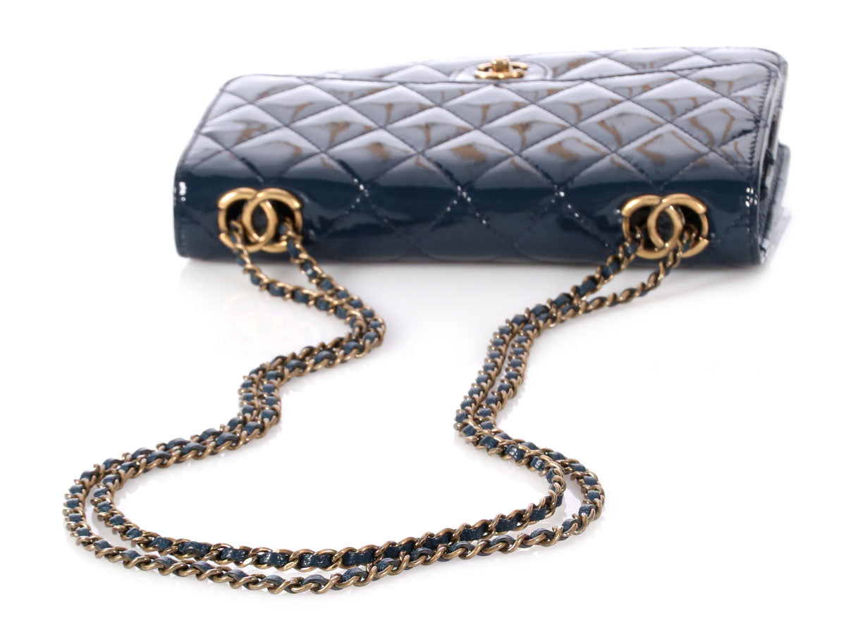 89020cd8a07d Chanel Navy Blue Patent Eyelet CC Wallet on a Chain WOC
