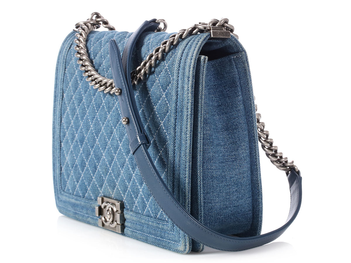 b0f220101650 Chanel Large Denim Boy Bag