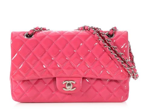 Chanel Medium/Large Pink Quilted Patent Classic Double Flap