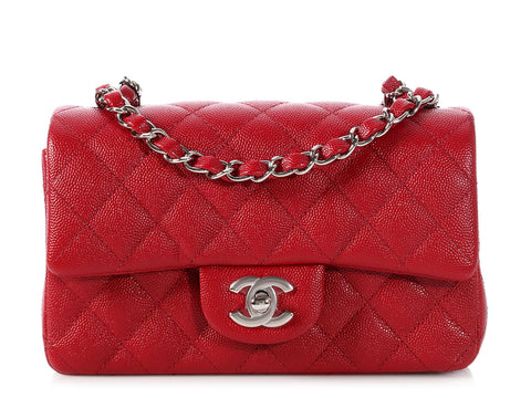 Chanel Dark Red Quilted Caviar Mini Classic