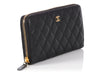 Chanel Black Quilted Caviar L Gusset Zip Wallet