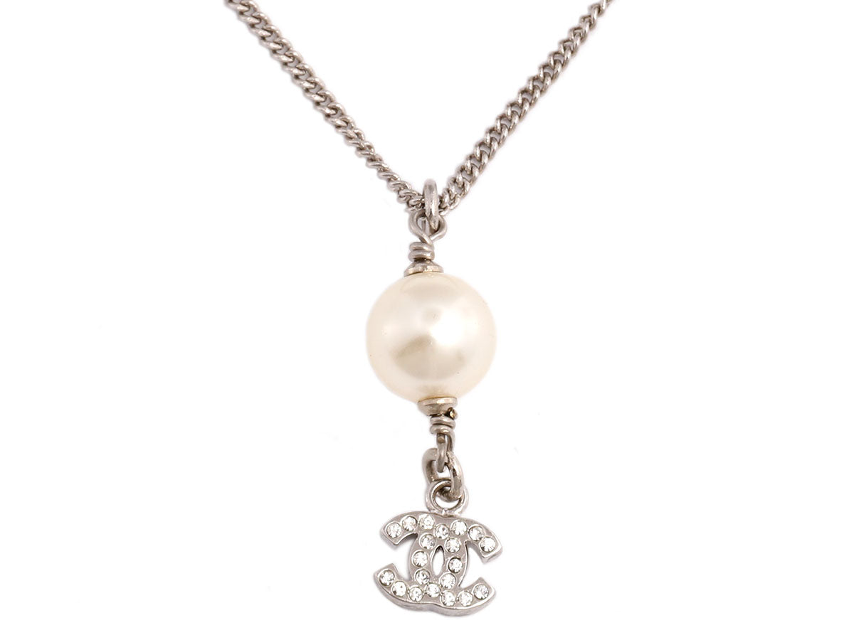 Chanel Logo Pearl Drop Necklace