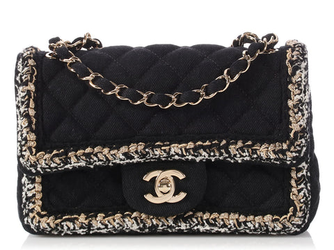 Chanel Mini Black Denim and Tweed Classic Flap