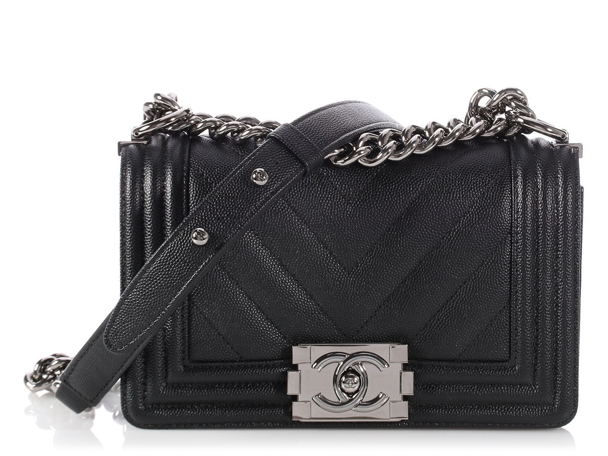 e102f092a3353 On Sale through Sunday ~ Your Weekend Luxe Binge Starts Now! Check out our  special collection · Chanel Small Black Chevron Quilted Caviar Boy Bag