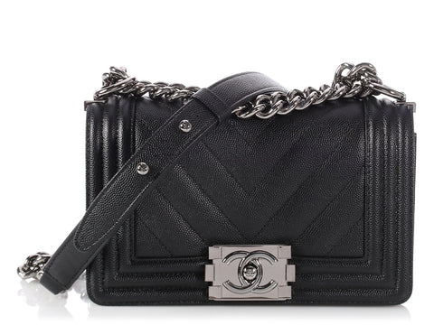 Chanel Small Black Chevron Quilted Caviar Boy Bag