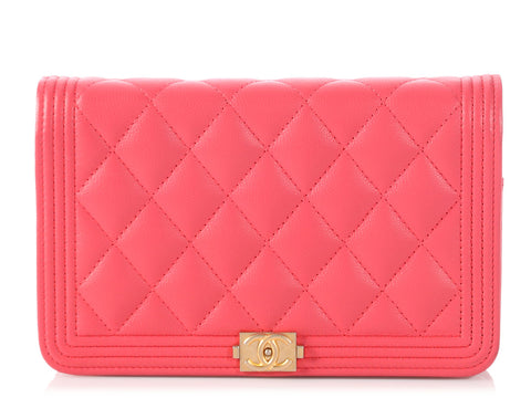 Chanel Coral Quilted Soft Caviar Boy Wallet on a Chain WOC