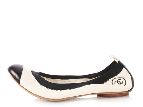 Chanel Black and White Lambskin Ballerina Flats