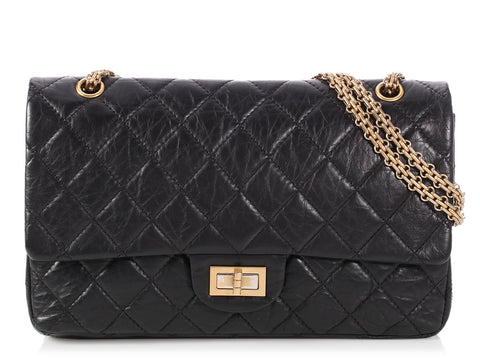 Chanel Black Distressed Quilted Calfskin Reissue 227 Double Flap