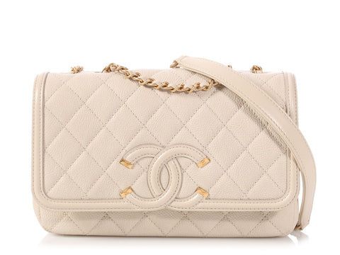 Chanel Small Light Beige Quilted Caviar Filigree Flap