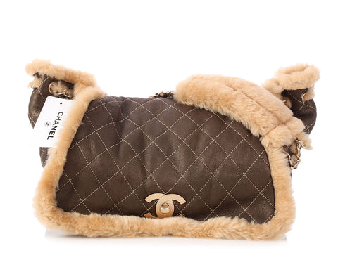 Chanel Khaki Shearling Flap