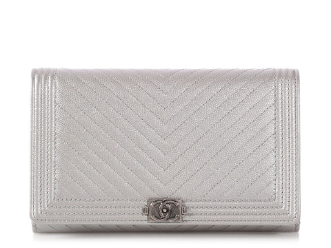 Chanel Silver Chevron Quilted Caviar Boy Wallet on a Chain WOC