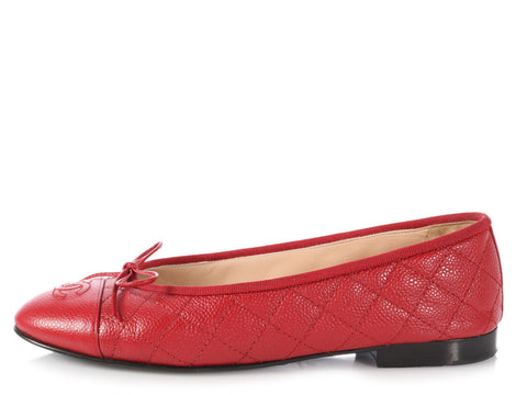 Chanel Rouge Caviar Quilted Ballet Flats