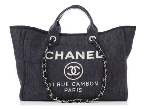 Chanel Large Dark Blue Denim Canvas Deauville Tote