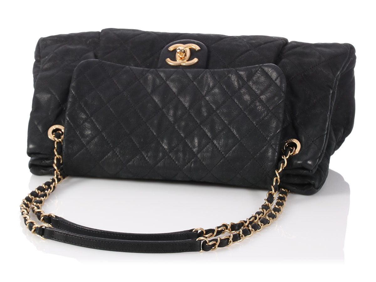 cd842f2c87f0 Chanel Black Quilted Suede Flap