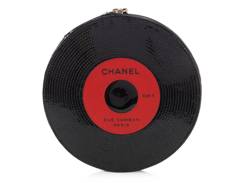 Chanel Black Patent and Red Leather Record Clutch