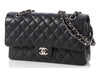 Chanel Medium/Large Black Quilted Caviar Classic Double Flap
