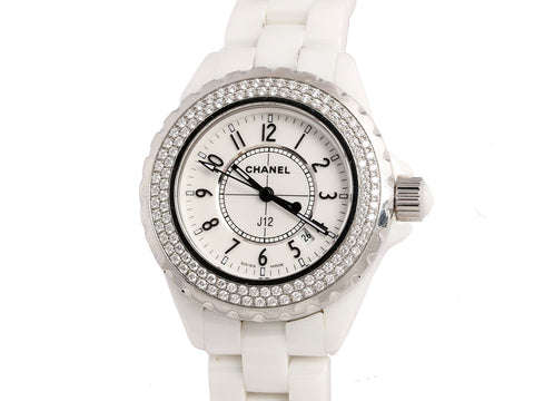 Chanel Diamond White and Stainless J12 Watch 33mm