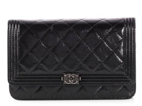 Chanel So Black Quilted Calfskin Boy Wallet on a Chain WOC