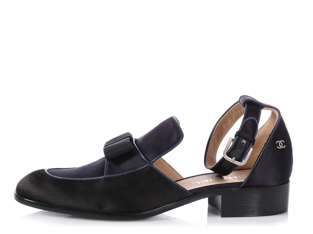 Chanel Black and Navy Satin Ankle Strap Bow Loafers