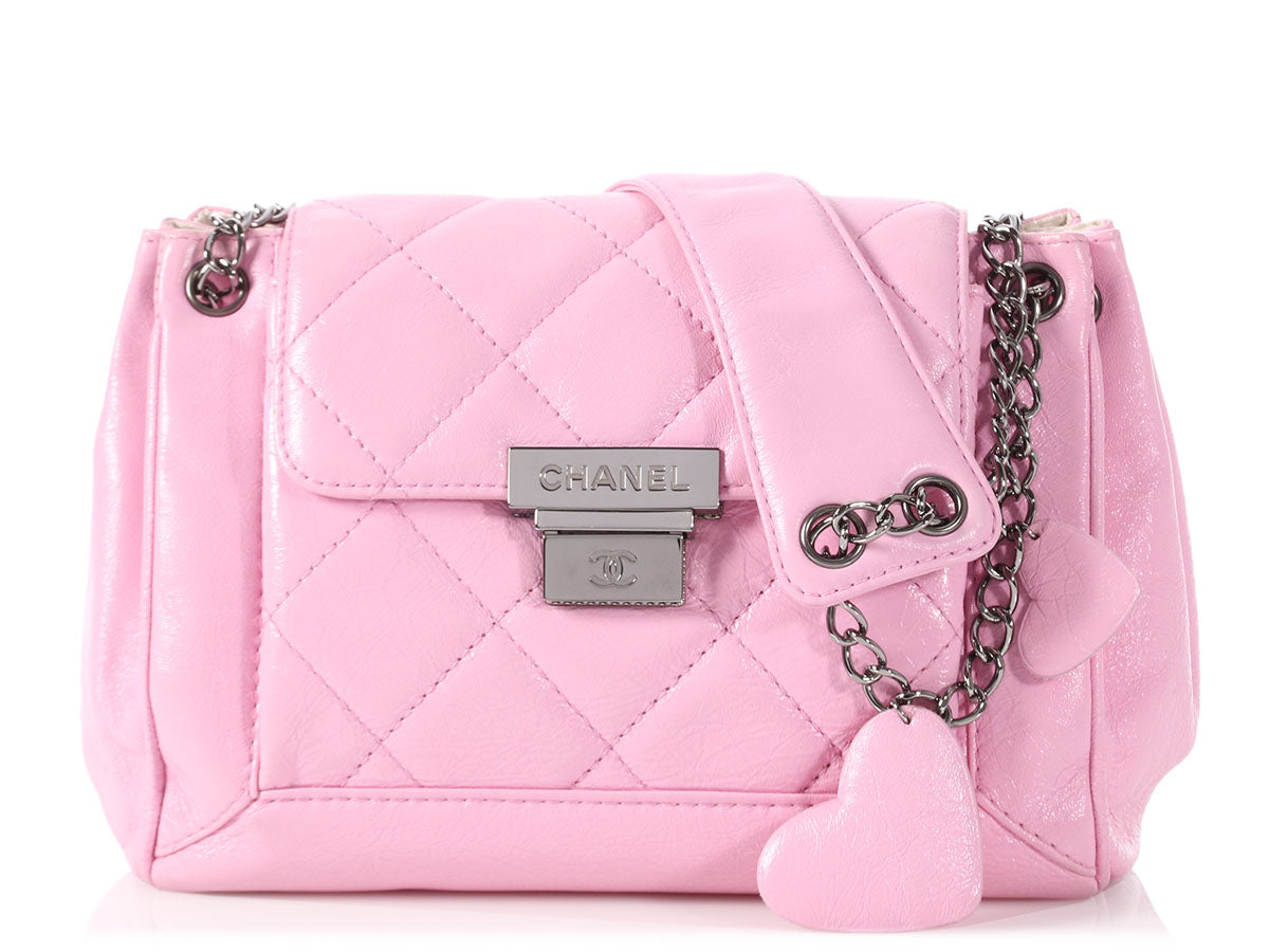 Chanel Pink Part-Quilted Shiny Calfskin Accordion Flap