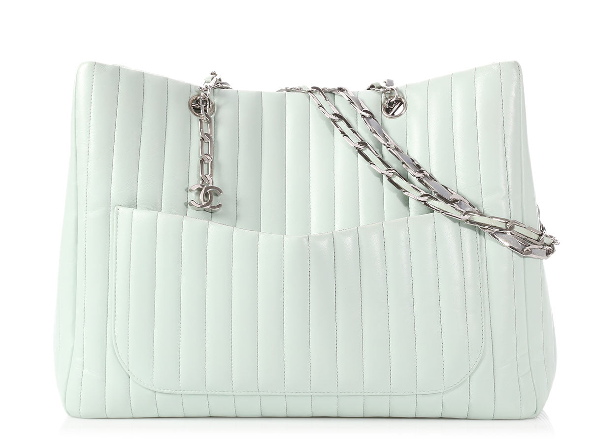 Chanel Mint Vertical Quilted Calfskin Mademoiselle Tote