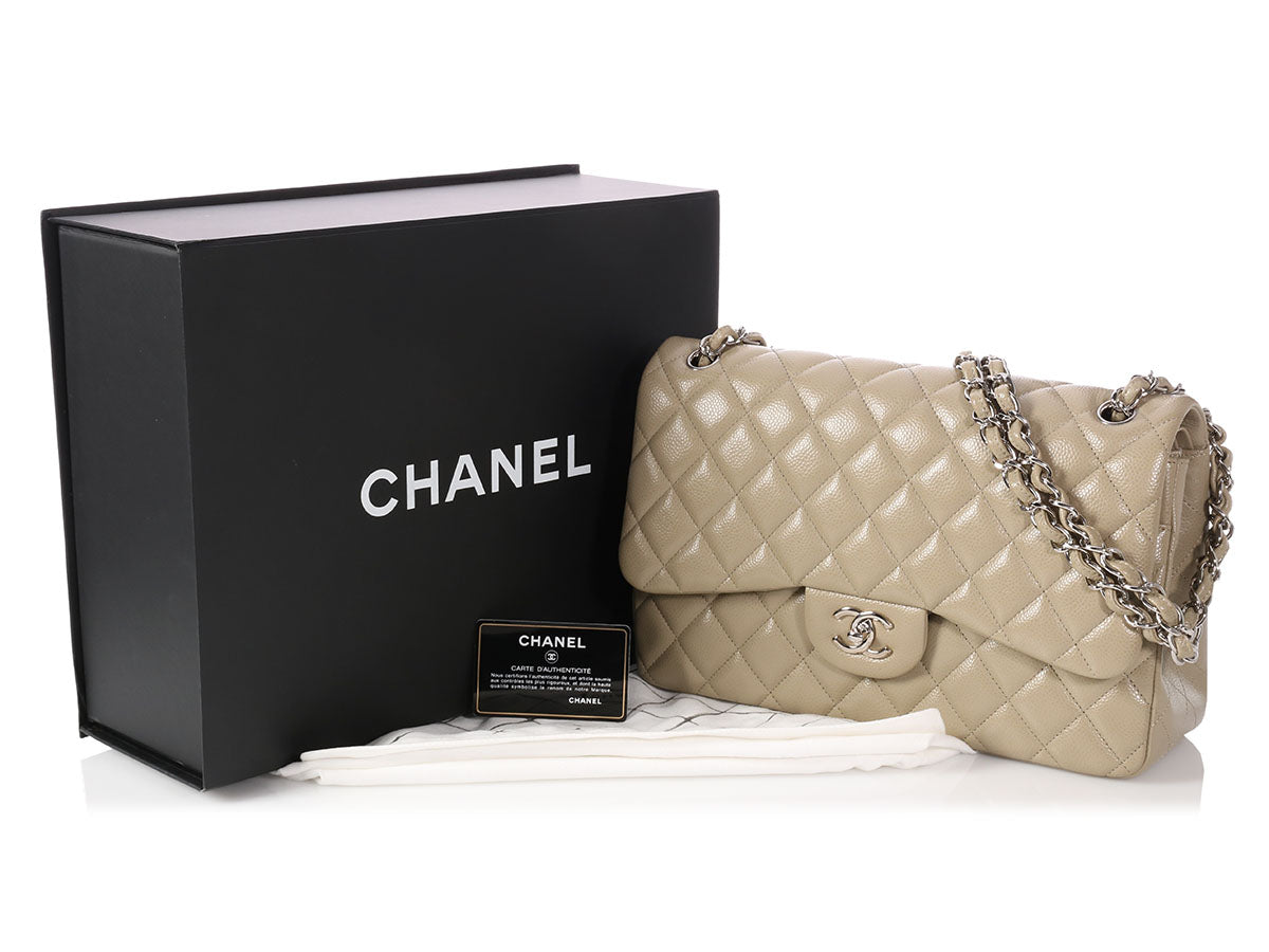 e5d50a9191b08d Chanel Jumbo Taupe Quilted Caviar Classic Double Flap