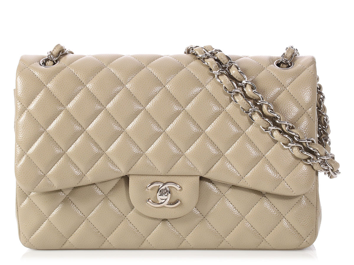 Chanel Jumbo Taupe Quilted Caviar Classic Double Flap