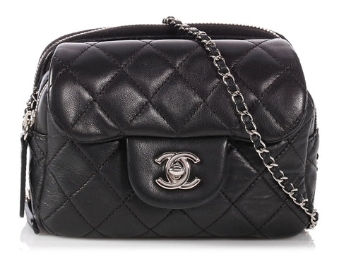 Chanel Black Quilted Lambskin Wallet/Mini Flap Crossbody