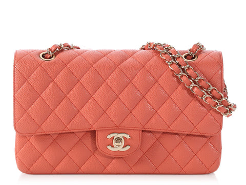 Chanel Medium/Large Salmon Quilted Caviar Classic Double Flap