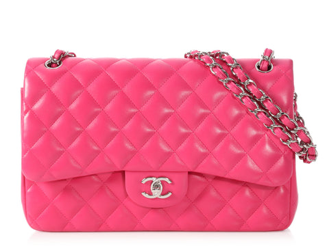Chanel Jumbo Pink Quilted Lambskin Classic Double Flap