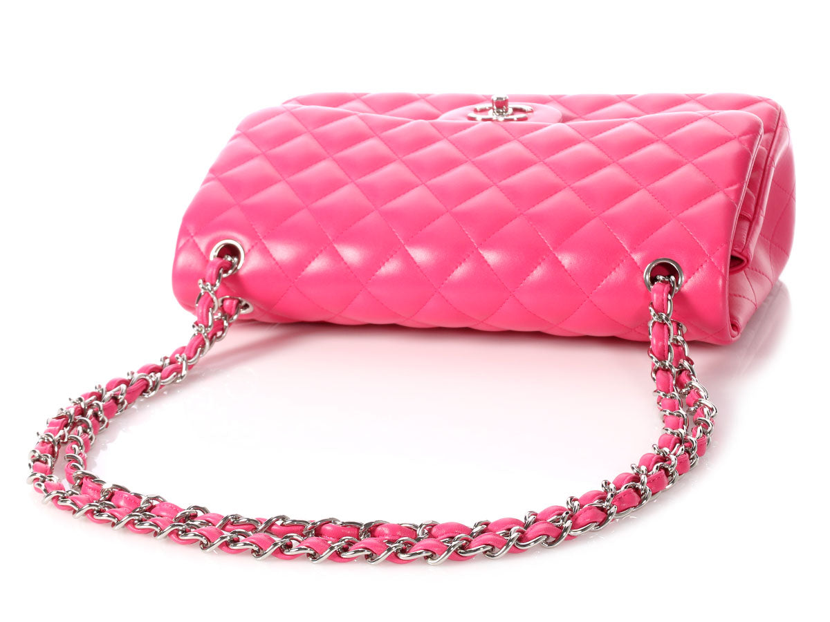 6bf2a4893e22ef Chanel Jumbo Pink Quilted Lambskin Classic Double Flap