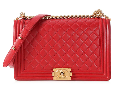 Chanel New Medium Red Quilted Lambskin Boy Bag