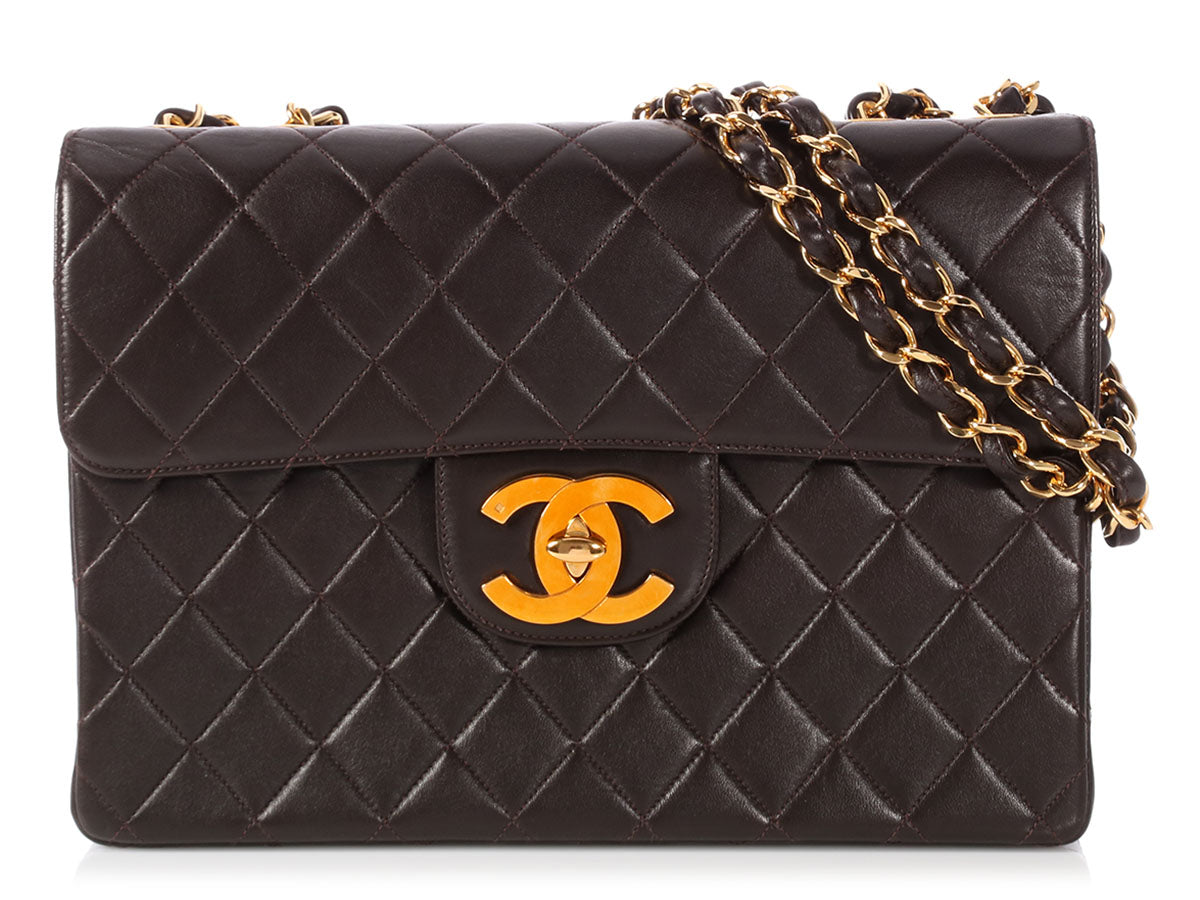 Chanel Jumbo Vintage Dark Brown Quilted Lambskin Classic Single Flap