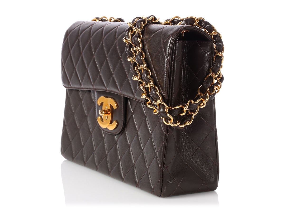 f161165d467d Chanel Jumbo Vintage Dark Brown Quilted Lambskin Classic Single Flap