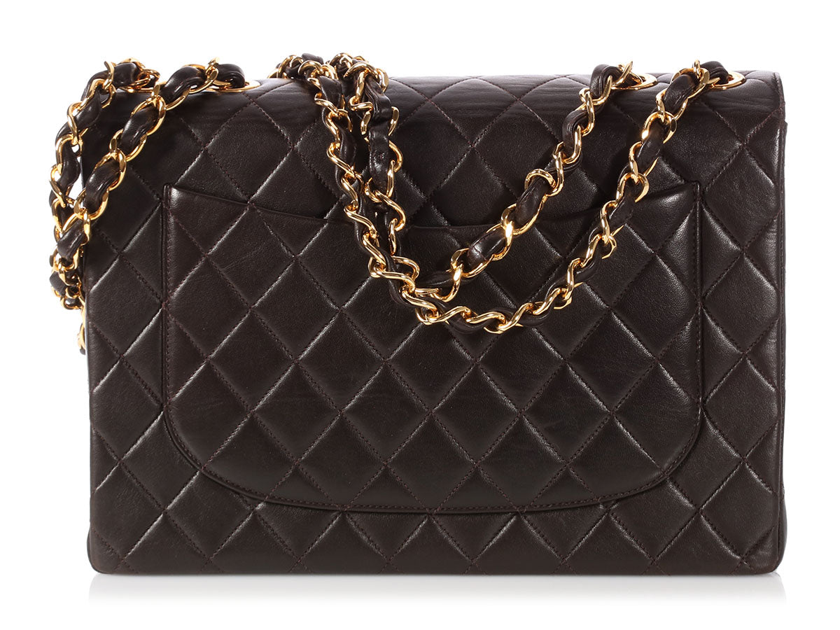 6f0013cf0636 Chanel Jumbo Vintage Dark Brown Quilted Lambskin Classic Single ...