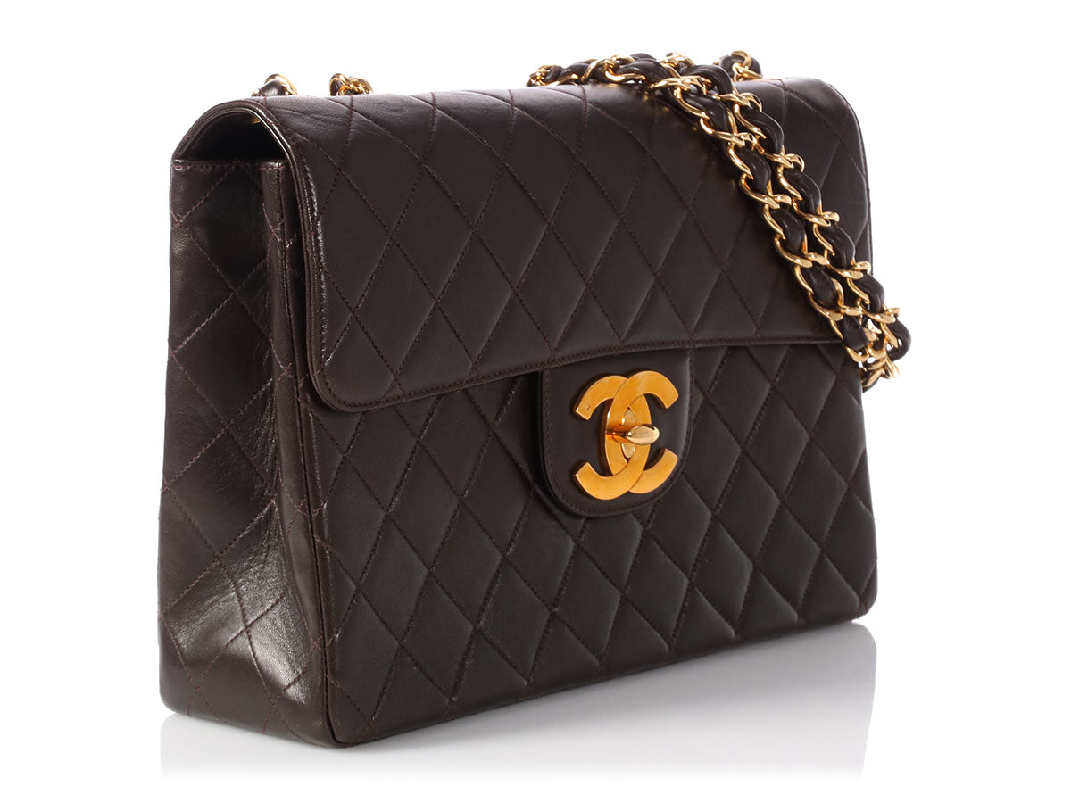 9eb2762c1d4d Chanel Jumbo Vintage Dark Brown Quilted Lambskin Classic Single Flap