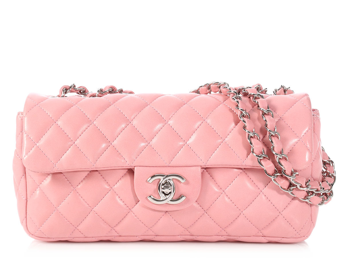 Chanel Pink Quilted Lambskin East West Flap