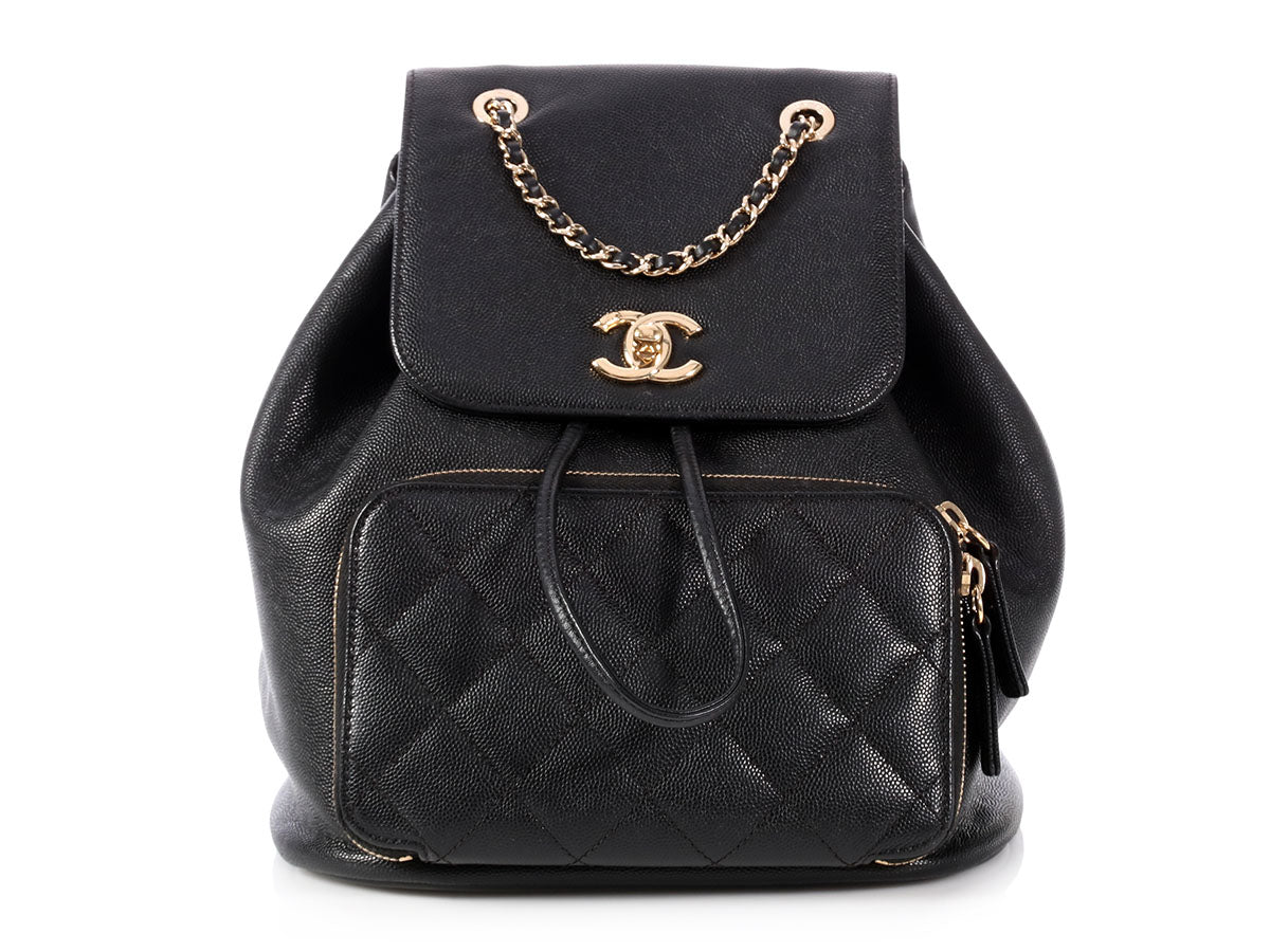 Chanel Black Calfskin Backpack