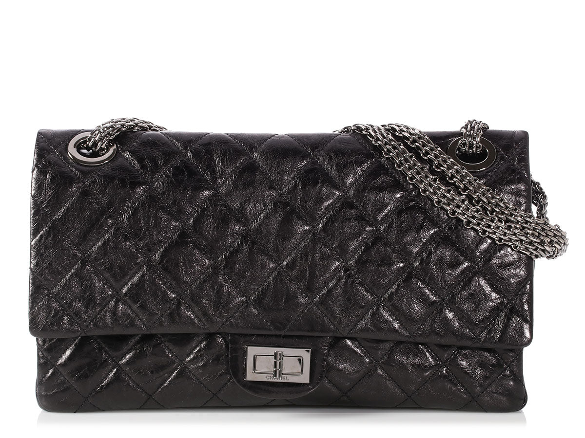 45ee10ff2ac4d2 Chanel Black Quilted Distressed Calfskin Reissue 228