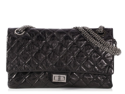 Chanel Black Quilted Distressed Calfskin Reissue 228