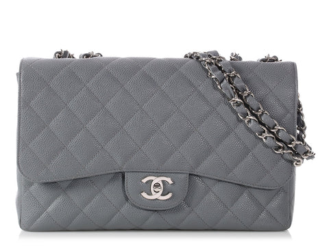 Chanel Jumbo Gray Quilted Caviar Classic Single Flap