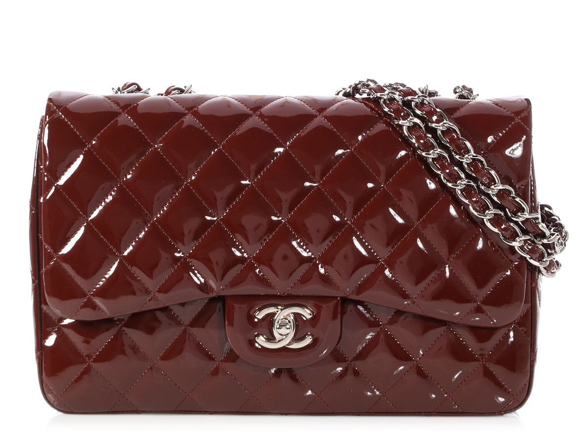 Chanel Jumbo Rouge Foncé Patent Classic Single Flap
