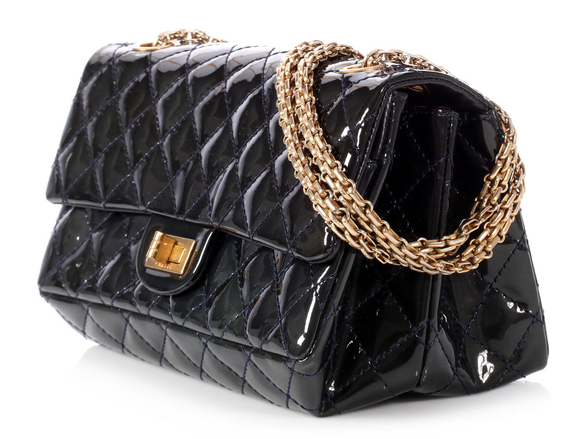 b47b508668f611 Chanel Marine Foncé Puffy Quilted Patent Reissue Flap
