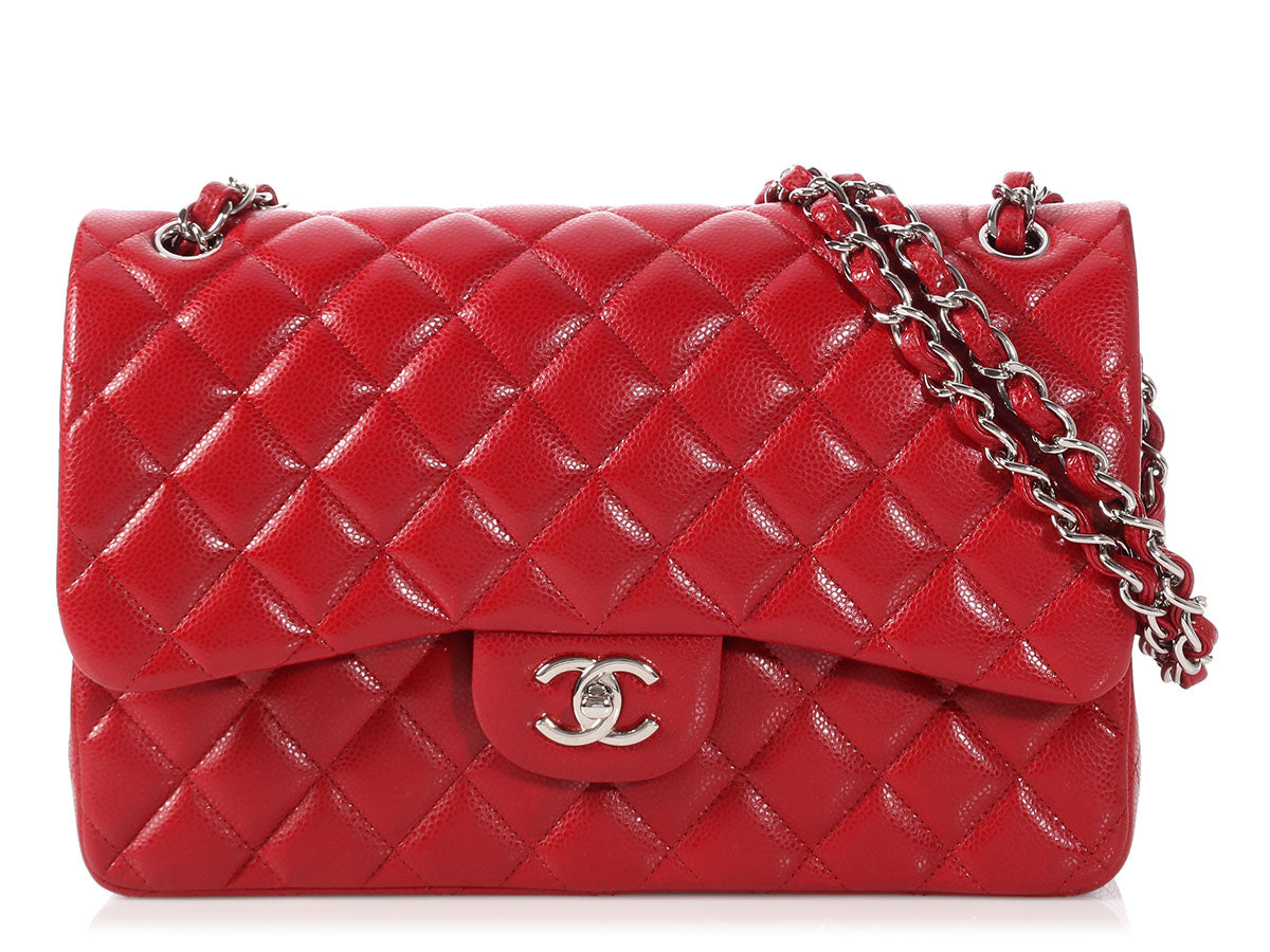 fe0c47050b77 Chanel Jumbo Red Quilted Caviar Classic Double Flap