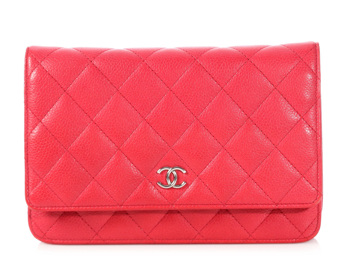 Chanel Red Quilted Caviar Wallet on a Chain WOC
