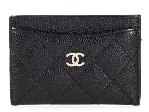 Chanel Black Quilted Caviar Card Case