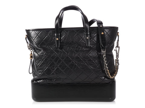 Chanel Large Black Calfskin Gabrielle Shopping Tote